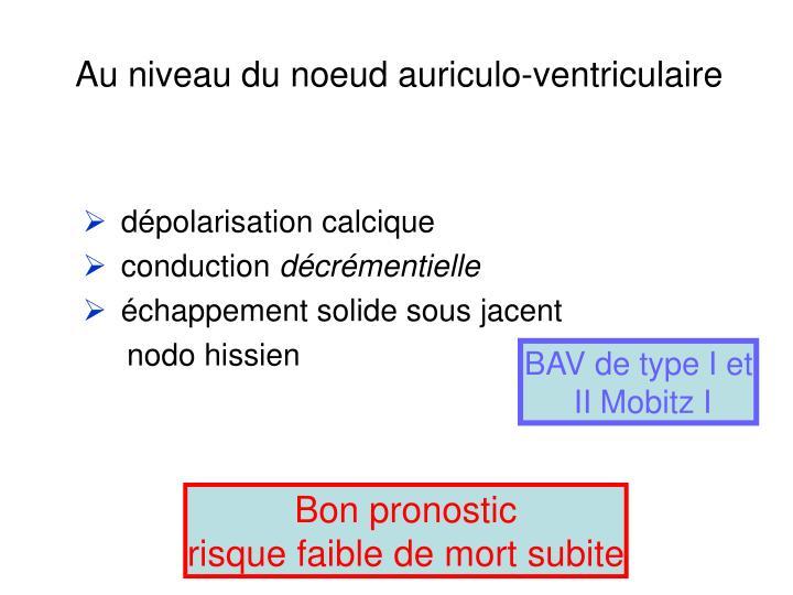 Au niveau du noeud auriculo-ventriculaire