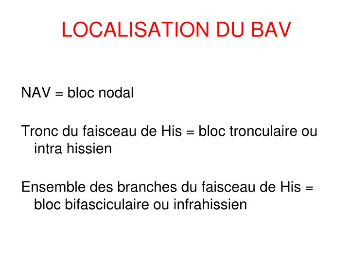 LOCALISATION DU BAV