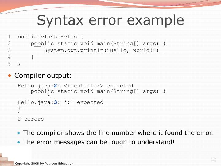 Syntax error example