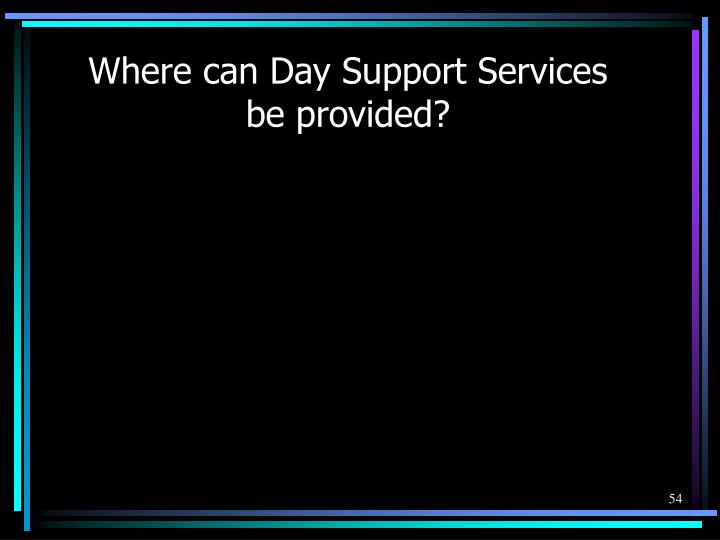 Where can Day Support Services be provided?