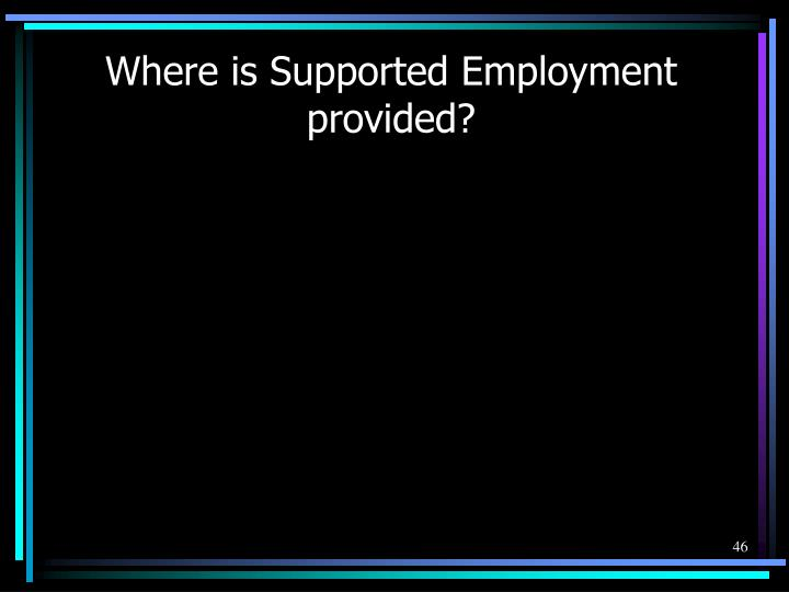 Where is Supported Employment provided?