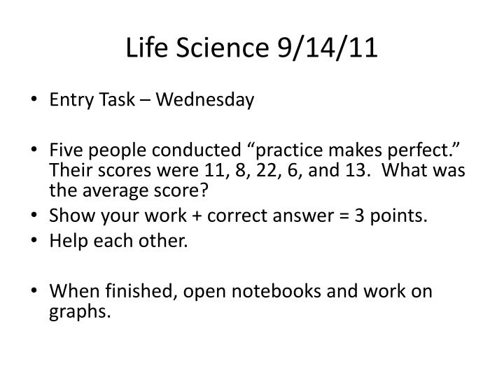 Life Science 9/14/11