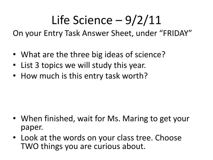 Life Science – 9/2/11