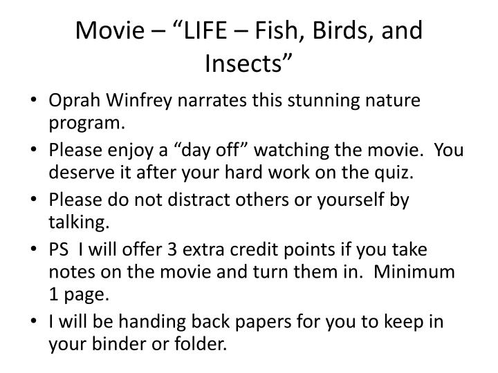 "Movie – ""LIFE – Fish, Birds, and Insects"""