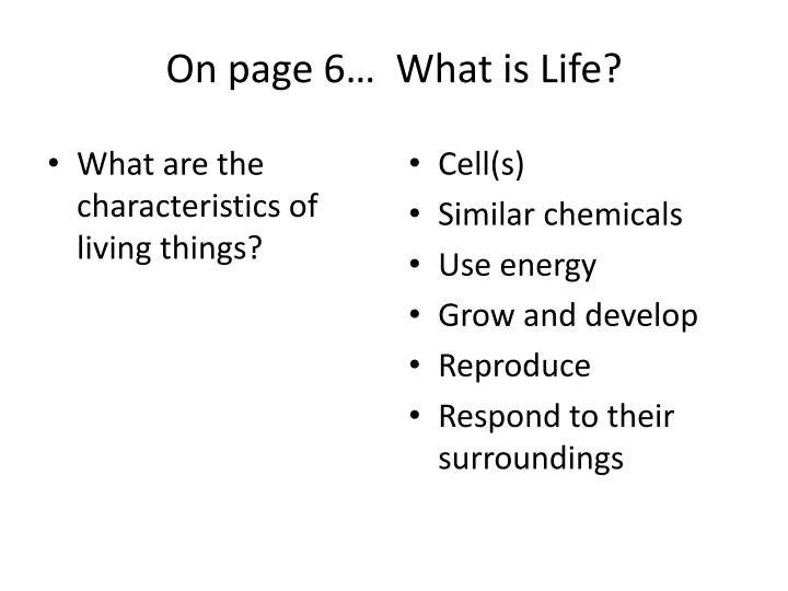 What are the characteristics of living things?