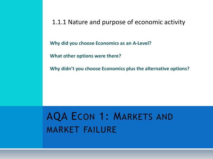1.1.1 Nature and purpose of economic activity
