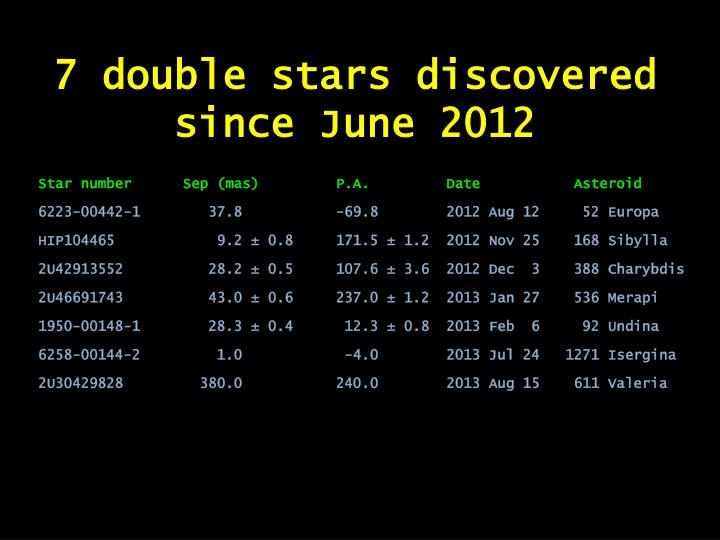 7 double stars discovered since June 2012