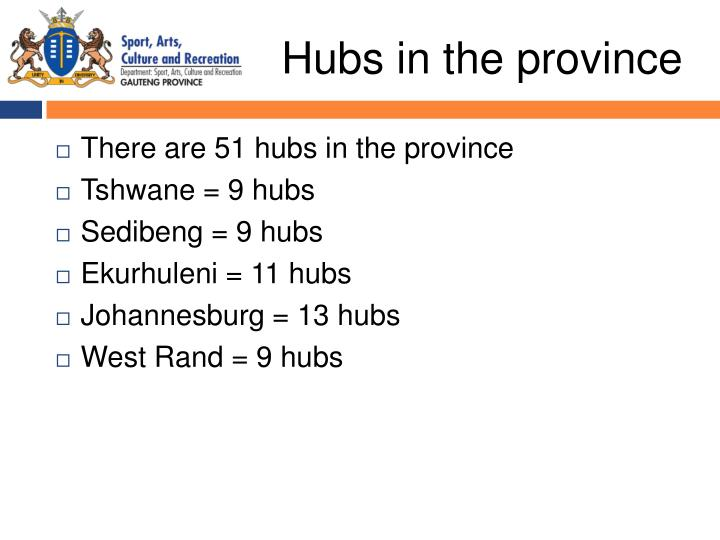 Hubs in the province