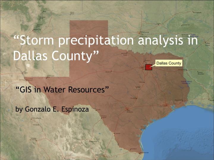 Storm precipitation analysis in dallas county