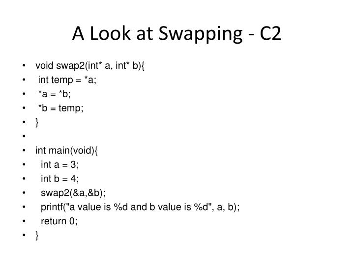 A Look at Swapping - C2