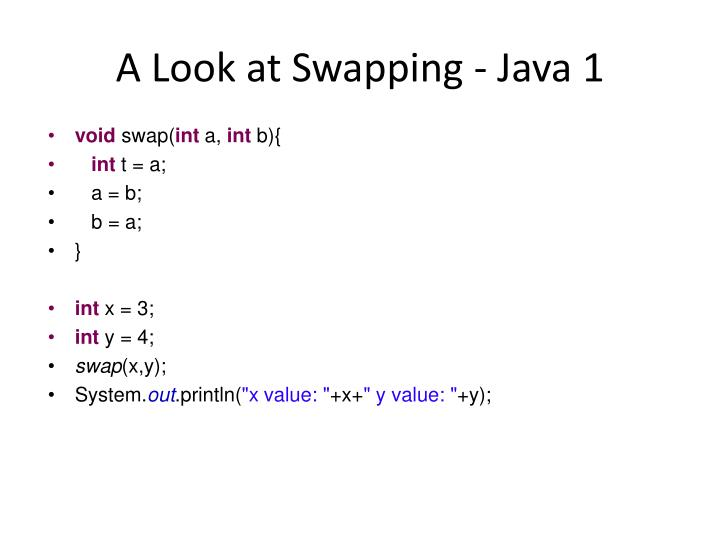 A Look at Swapping - Java 1