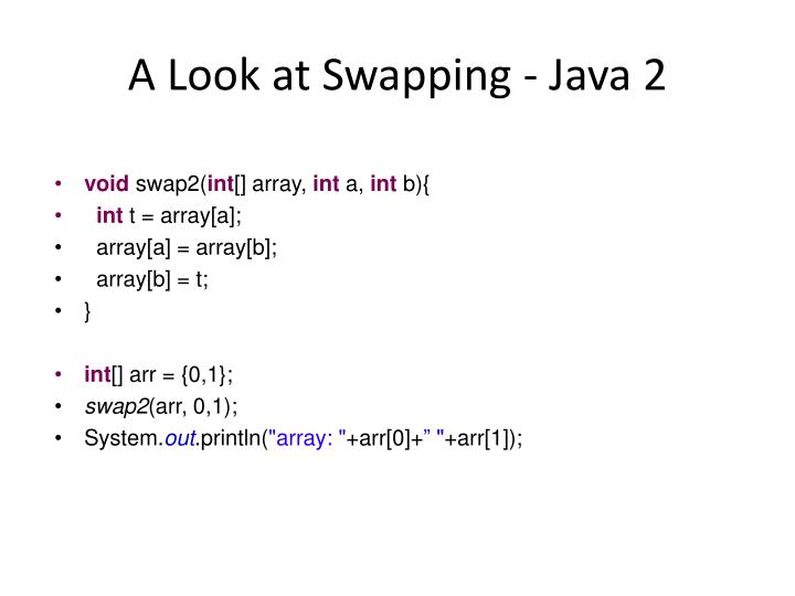 A Look at Swapping - Java 2