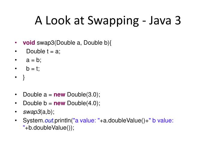 A Look at Swapping - Java 3