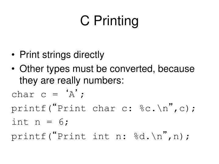 C Printing