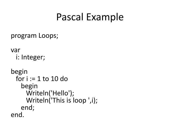 Pascal Example