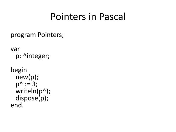 Pointers in Pascal