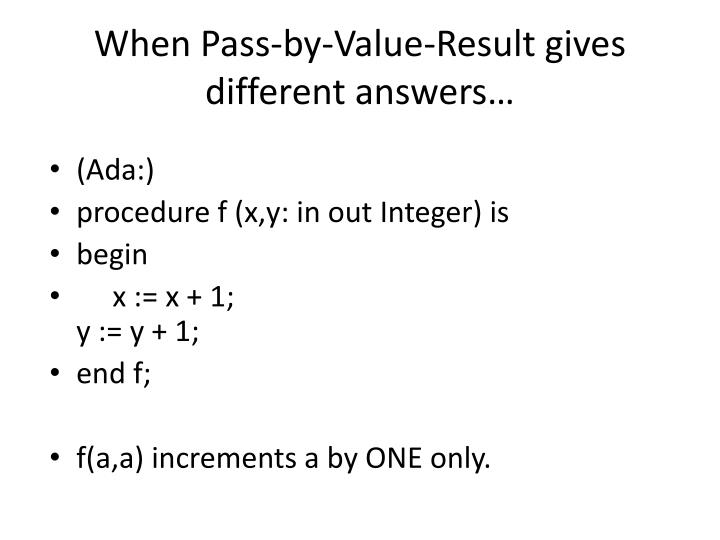 When Pass-by-Value-Result gives different answers…