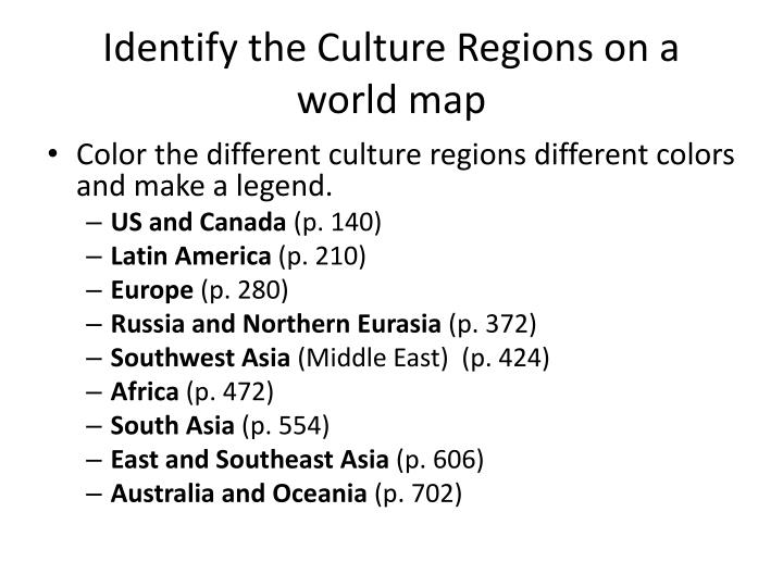 Identify the Culture Regions on a world map