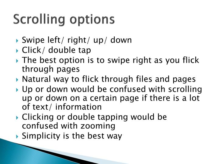 Scrolling options