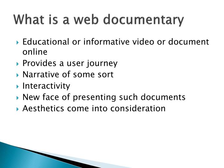 What is a web documentary