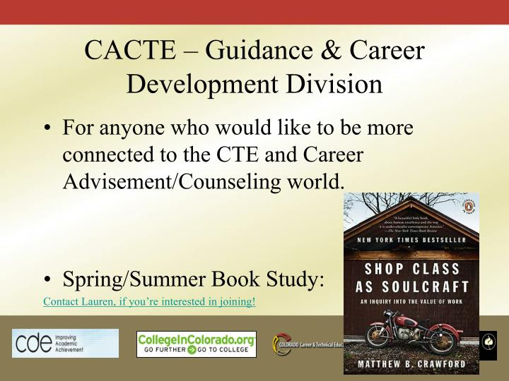 CACTE – Guidance & Career Development Division