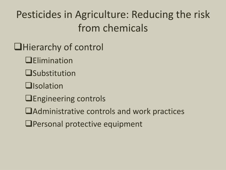 Pesticides in Agriculture: Reducing the risk from chemicals