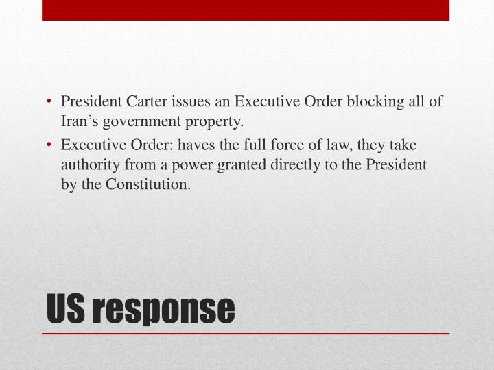 President Carter issues an Executive Order blocking all of Iran's government property.