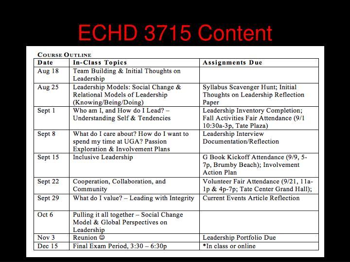 ECHD 3715 Content