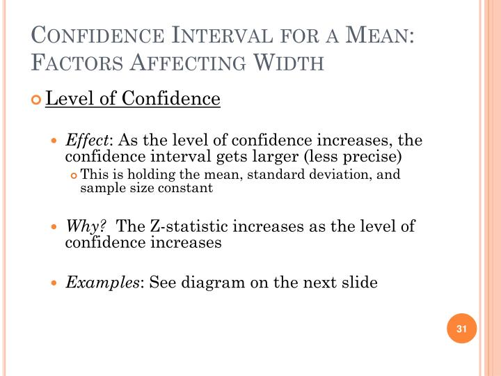 Confidence Interval for a Mean: