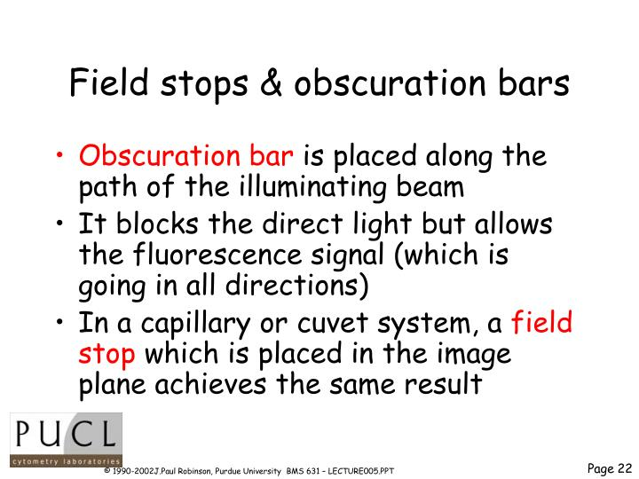 Field stops & obscuration bars