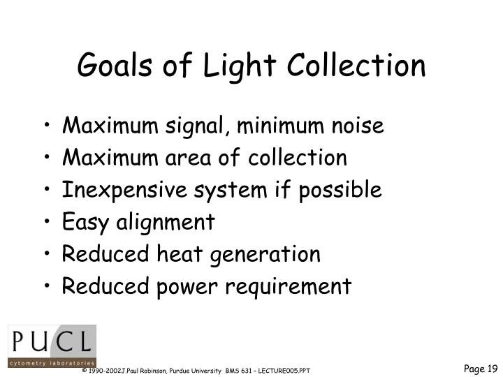 Goals of Light Collection
