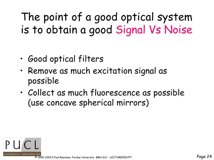The point of a good optical system is to obtain a good