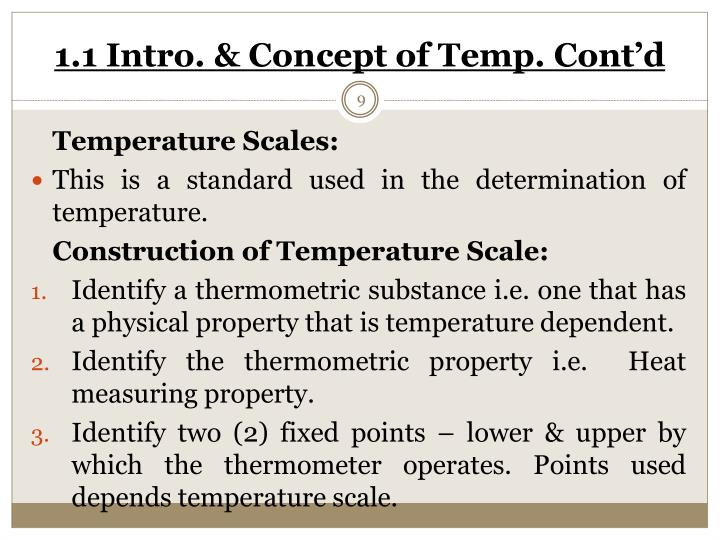 1.1 Intro. & Concept of Temp. Cont'd