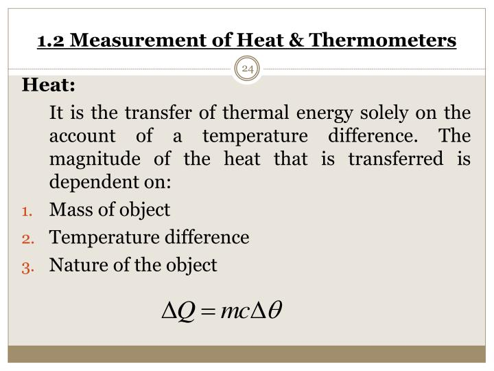 1.2 Measurement of Heat & Thermometers