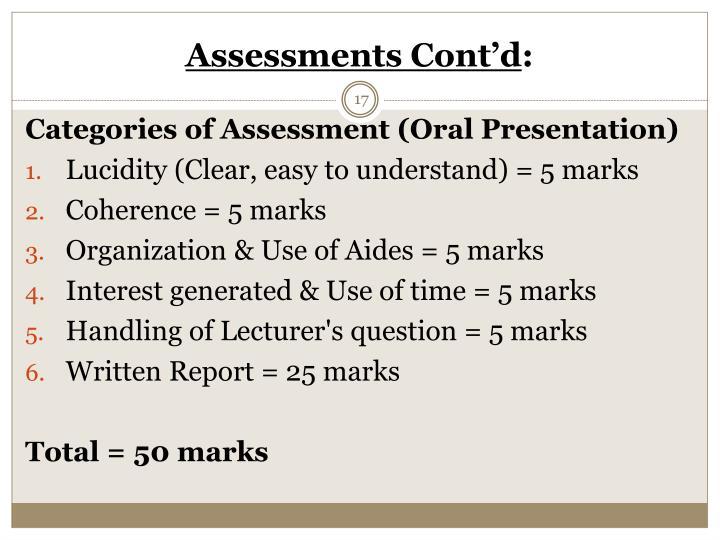 Assessments Cont'd