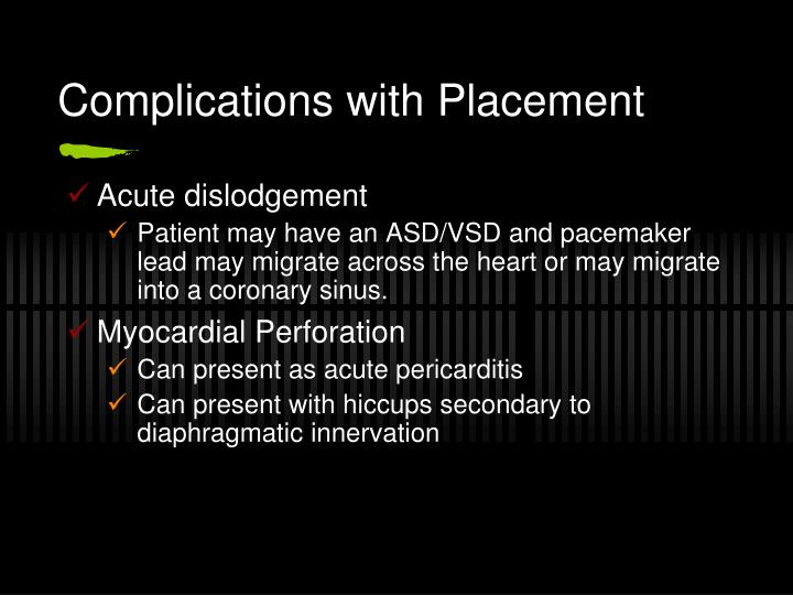 Complications with Placement