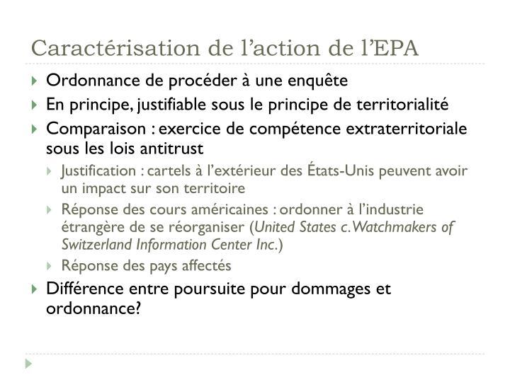 Caractérisation de l'action de l'EPA