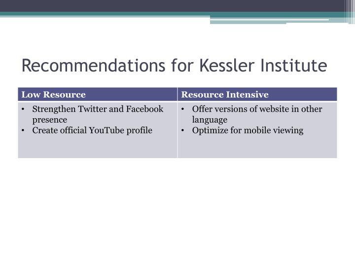 Recommendations for Kessler Institute