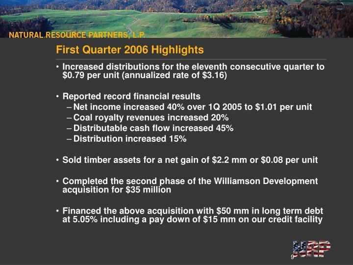First Quarter 2006 Highlights