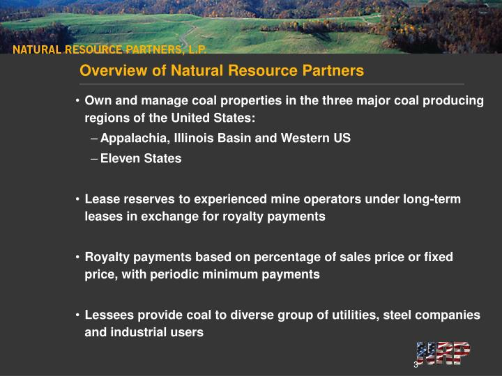 Overview of natural resource partners