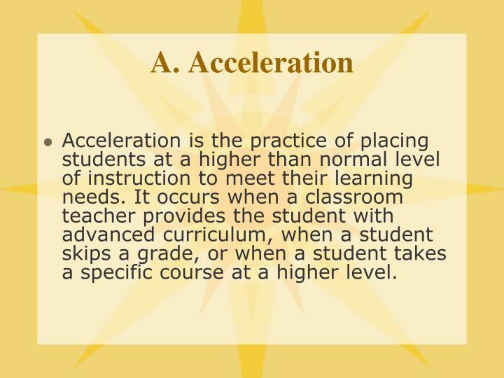 A. Acceleration