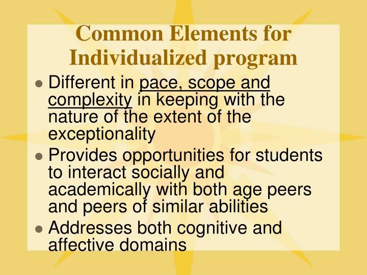 Common Elements for Individualized program