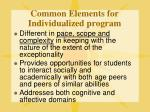 common elements for individualized program