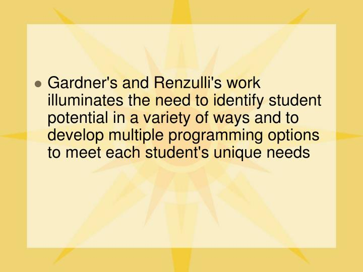 Gardner's and Renzulli's work illuminates the need to identify student potential in a variety of ways and to develop multiple programming options to meet each student's unique needs