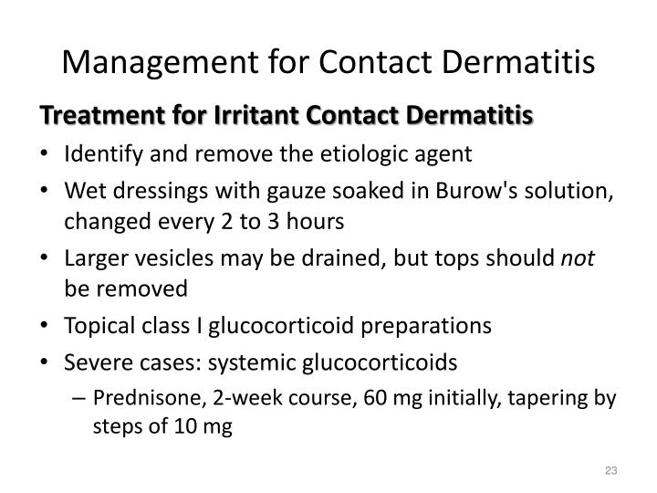 Management for Contact Dermatitis
