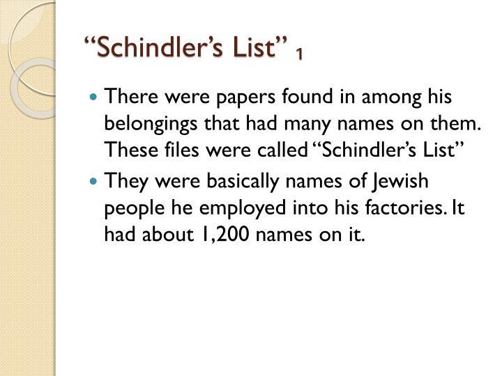 """""""Schindler's List"""""""