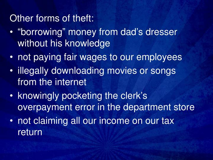 Other forms of theft: