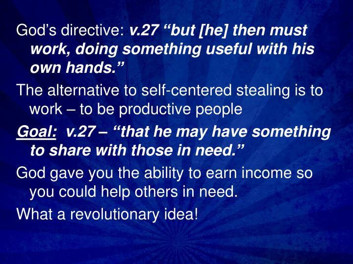 God's directive: