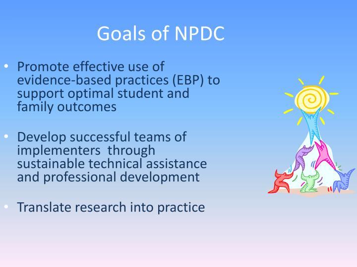 Goals of NPDC