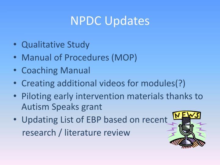 NPDC Updates